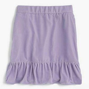 J CREW Velvet Peplum Skirt Light Thistle XS